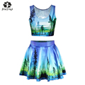 Fascinating Tree And Lake Print 2 Piece Set Women Sweety Ball Gown Party Club Beautiful Womens