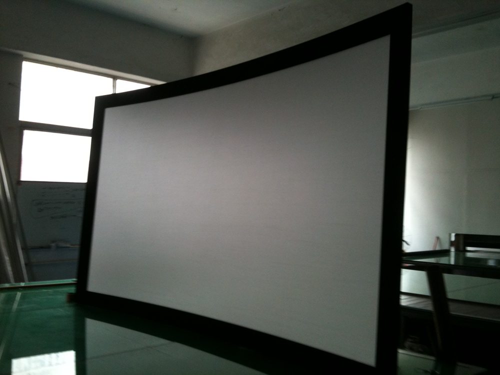 curved projection screen Victory 3d curved frame projection screen with 3 floor stand,us $ 475 - 480 / piece, frame, soft flexible pvc or silver screen, 16:9source from shenzhen victory.