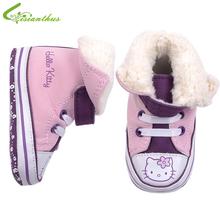 Baby Mädchen Hallo Kitty Schuhe Herbst Winter Prewalker Mode Stiefel Weiche Sohle Lauflern Kleinkinder Schuhe Freier Tropfen-verschiffen(China (Mainland))