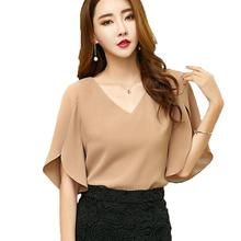 Buy New Butterfly Sleeve Blouses Women Shirts 2017 Sexy V Neck Summer Blusas Feminina Tops Fashion Loose Plus Size Chiffon Blouse for $9.73 in AliExpress store