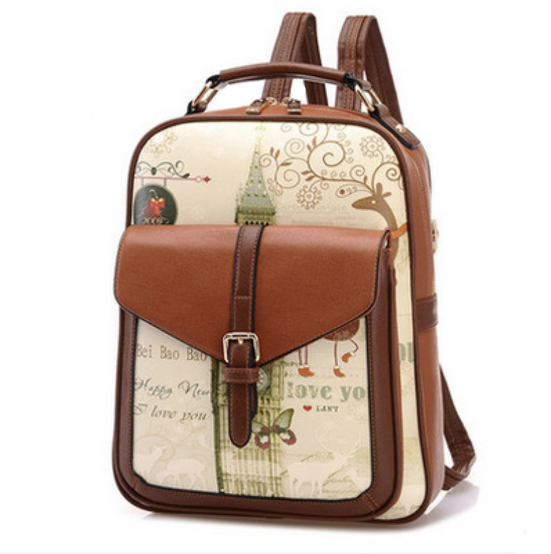 New 2017 Popular Ladies Backpack British Style Student Fashion Pu Leather Women's Backpack Casual Retro Girl's Bag(China (Mainland))