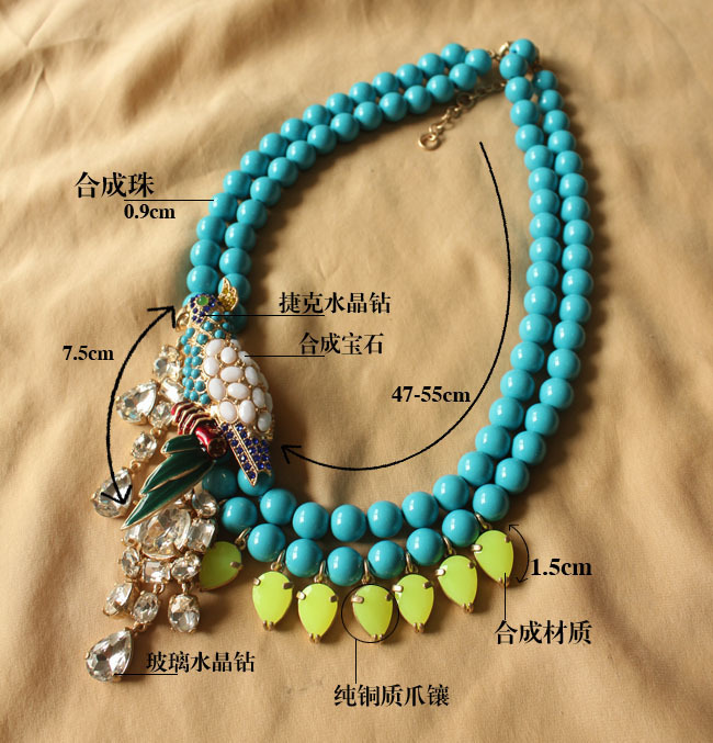 Min. order $9 (mix order) Vintage crystal animal pendant blue beaded necklace for women(China (Mainland))