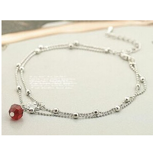 SL100 Hot New Style Fashion Double Temptation of Red Crystal Beads Sparkling Anklets Swan Jewelry Accessories Wholesales(China (Mainland))