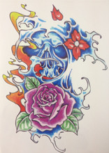 NEW Blue Skull and Rose 21 X 15 CM Sized Sexy Cool Beauty Tattoo Waterproof Hot Temporary Tattoo Stickers#33