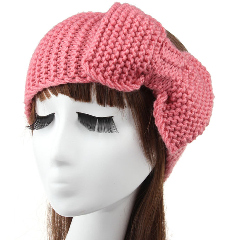 Bow Knot crochet handmade knit headband women warm winter hairband head(China (Mainland))
