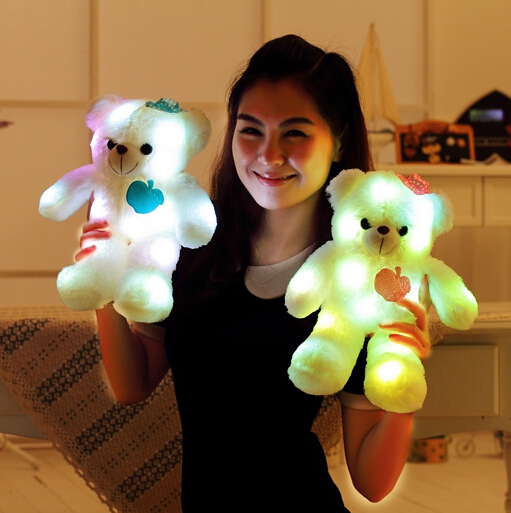 WEWILL Brand 2016 New Stuffed Animals Plush Teddy Bear Toys Glow in the Dark Toys Baby Gifts 38CM YZT0168(China (Mainland))