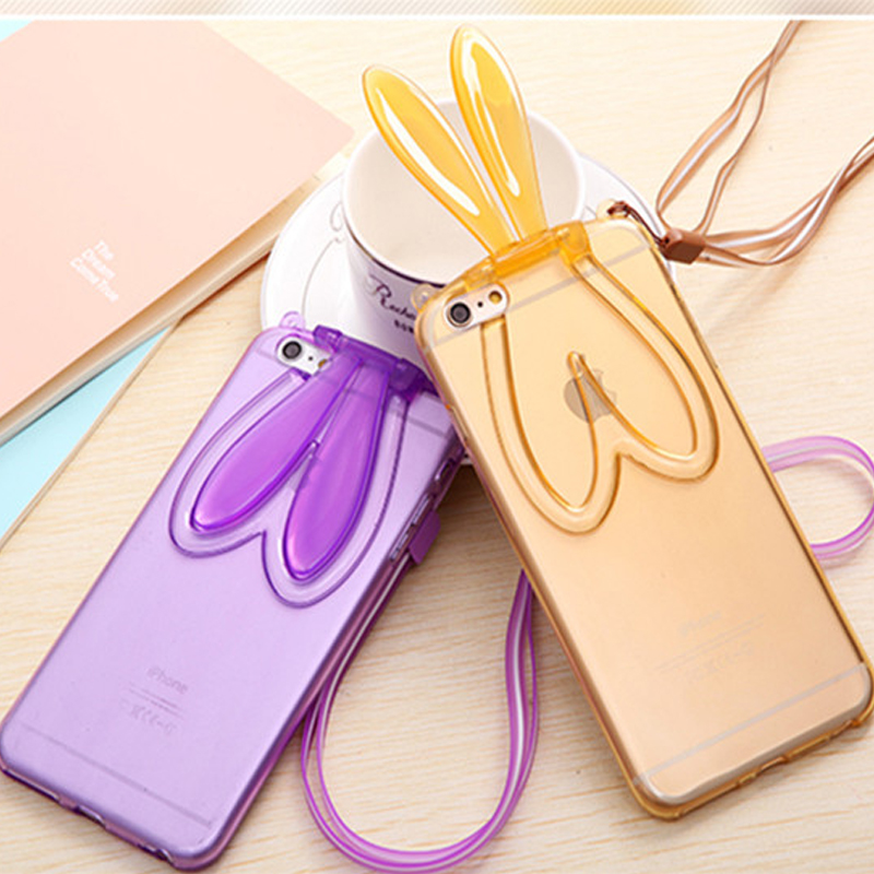 Fashion Rabbit Stand Holder Phone Cases For iphone6 6S 6 Plus 5 5S Super Cute Foldable Rabbit Ears For iphone 6 Case with chain(China (Mainland))