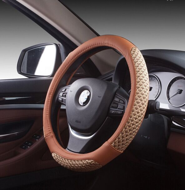 kajia microfiber leather steering wheel cover 38cm car styling car covers(China (Mainland))