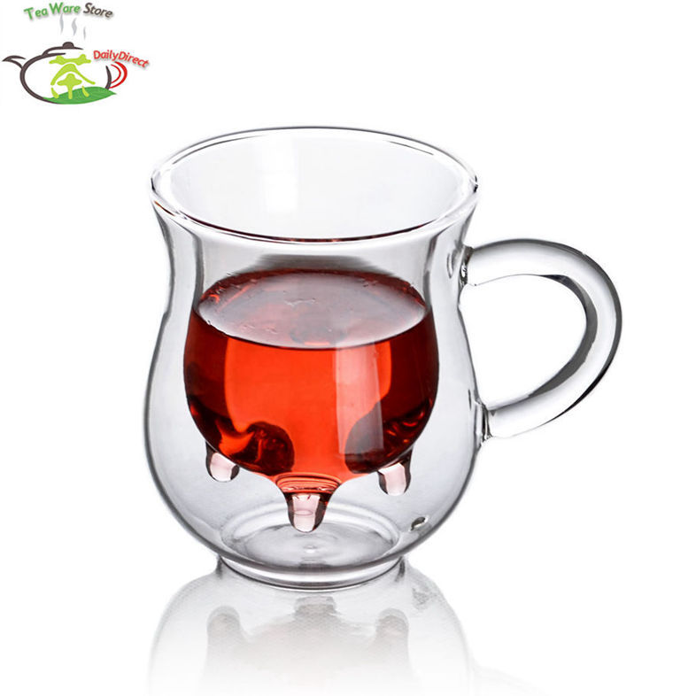 1x 6.76fl.oz/200ml Glass Double Wall Creative Cow Milk Cup Mug With Handle Cow Udder Style Creamer Pitcher Double-Walled Jug(China (Mainland))