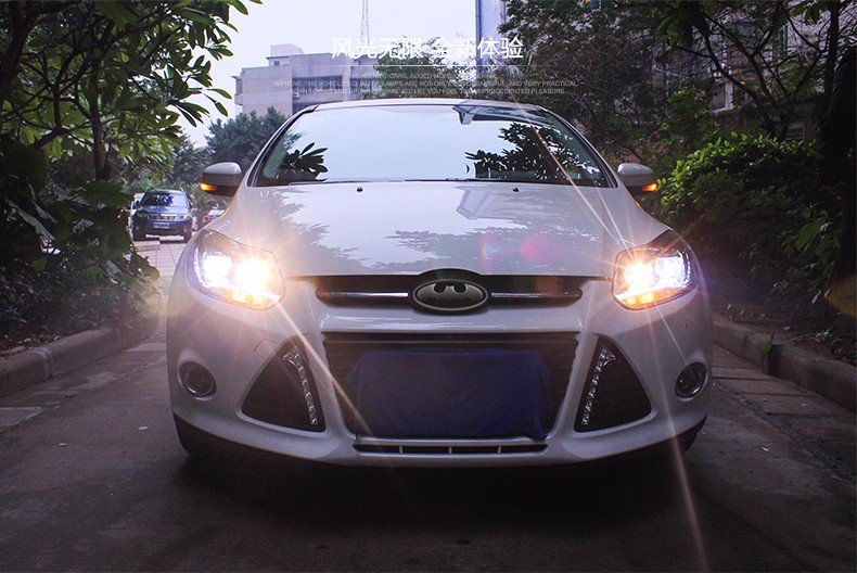 Auto Clud Car Styling for PW Ford Focus Headlights New Focus LED Headlight DRL Lens Double Beam H7 HID Xenon bi xenon lens