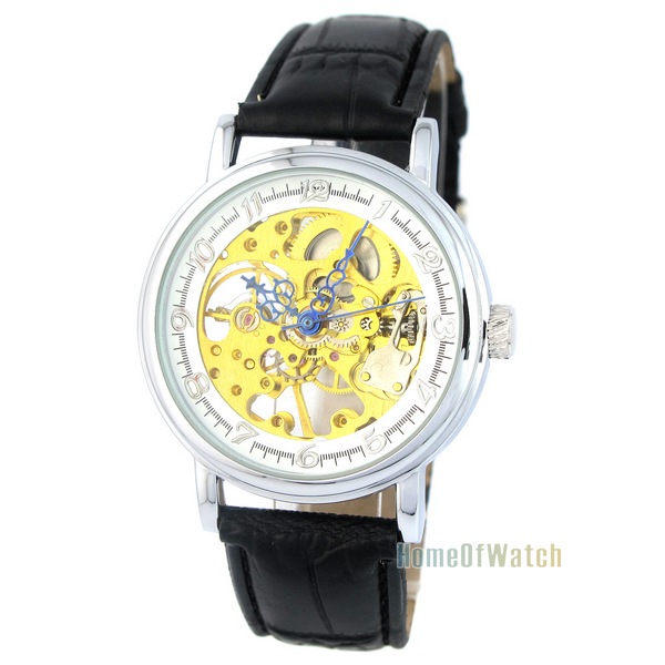 Simple Hollow Mechanical Watches Gold Part Synthetic Leather Strap Manipulator Wind White Watch (NBW0ME7981-WH3)(China (Mainland))