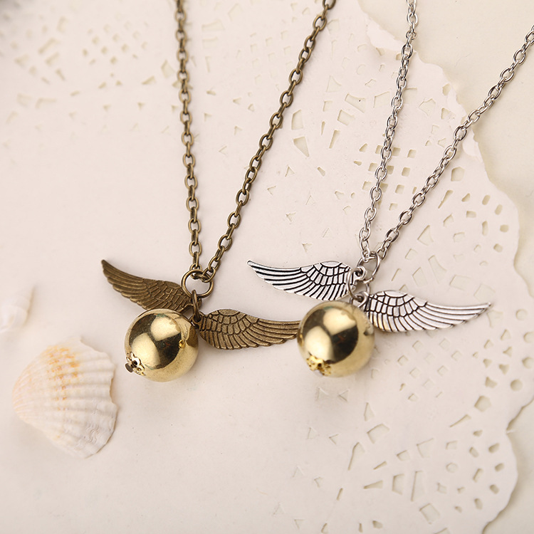 Movie Theme Jewelry Angel Wing Thin Necklaces Collares 2015 populares Quidditch Harry Potter Charm Golden Snitch Pendent(China (Mainland))