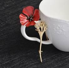 Jisensp Mode Red Poppy Bunga Cabang Bunga Bros Pins untuk Wanita Pernikahan Perhiasan Logam Daun Gaun Mujer Broches pin Enamel(China)