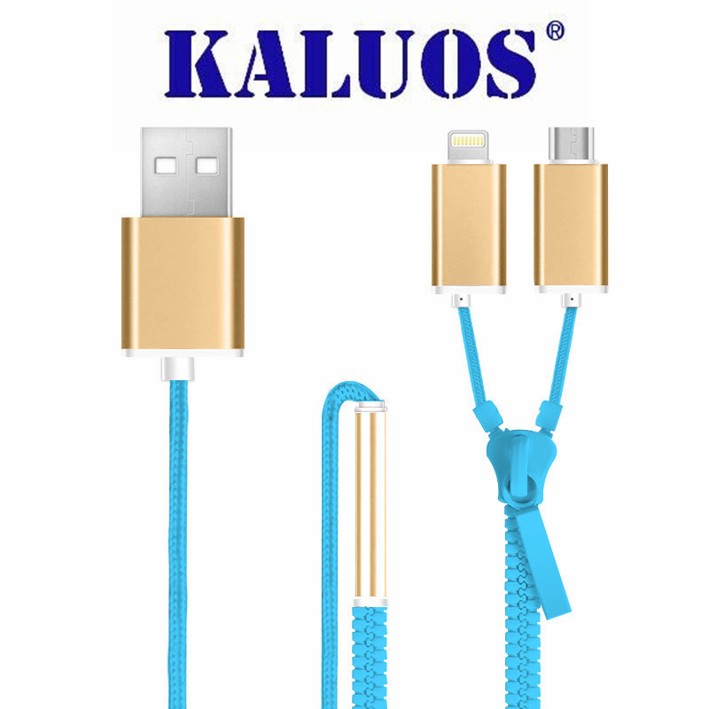 2 In 1 KALUOS Zipper 8 Pin & Micro USB Data Sync Charging Cable For iPhone5 5S 6S Plus Android Digital Devices Charge Line 100cm(China (Mainland))