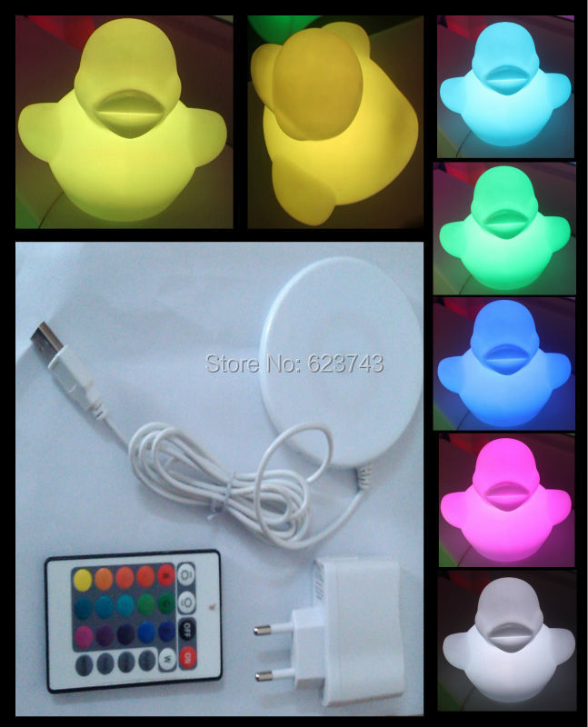 Wireless charging multi-color Rubber Duck LED night light H28cm waterproof,rechargeable Big Donald Duck baby nightlight gift toy<br><br>Aliexpress