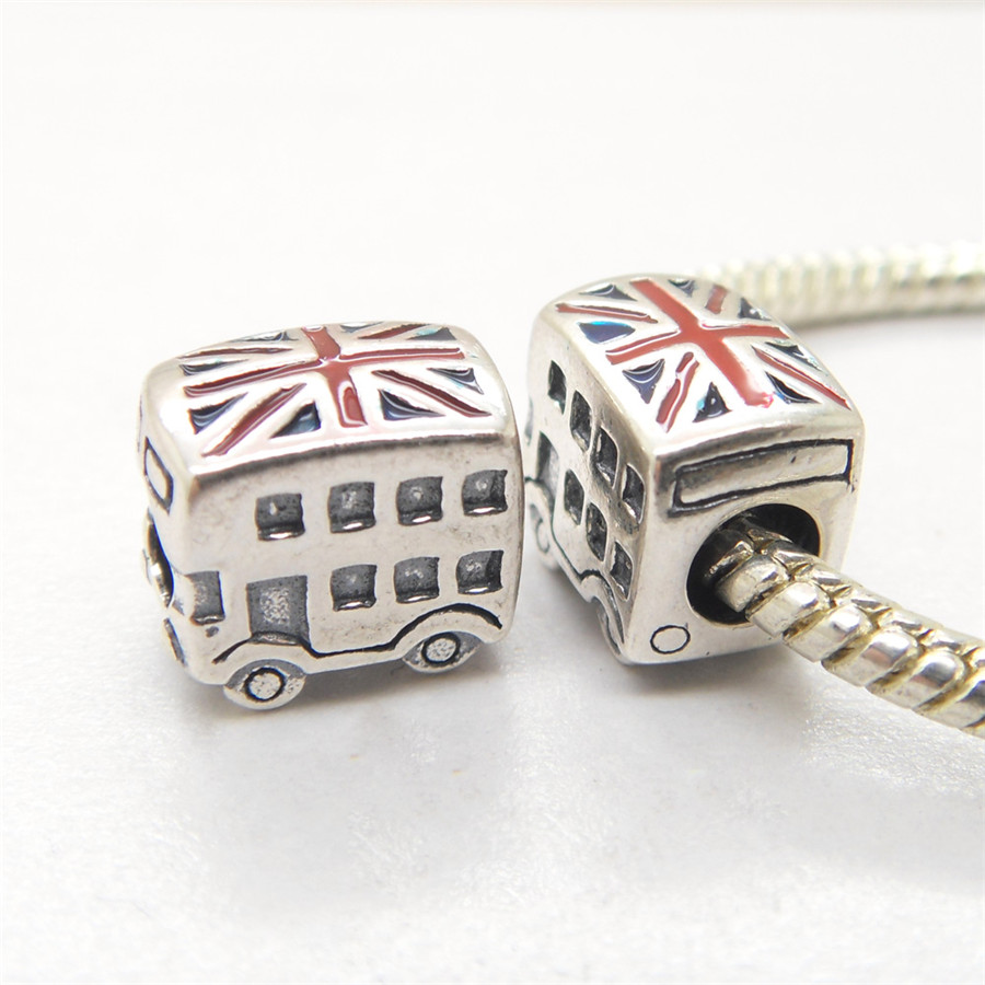 Authentic 925 Sterling Silver London Bus & UK National Flag European Bead DY094 Fit European Charms Bracelet(China (Mainland))