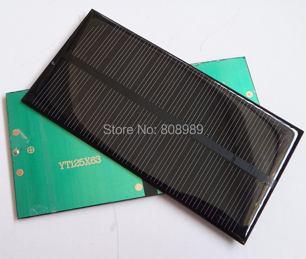 Wholesale Mini 1W 6V Monocrystalline Solar Panel Solar Cell DIY Solar Charger Solar Moudle 125*63*3MM 50pcs/lot Free Shipping(China (Mainland))