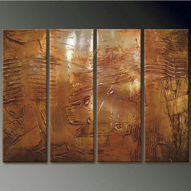 4 piece abstract modern muti panel canvas wall art brown. Black Bedroom Furniture Sets. Home Design Ideas