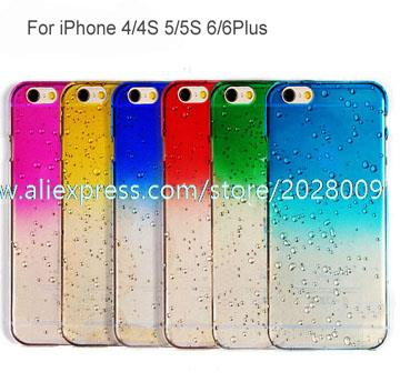 Raindrops Phone Case Gradient Change Cases Hard PC For iPhone 6 6 Plus 5 200PCS lot(China (Mainland))
