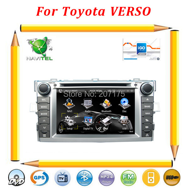 """Russian Menu !! Car dvd gps for Toyota Verso 2011-2012 with 7"""" HD Digital screen,SWC,TV,BT,lpod,USB/SD+Free 4G card with map !(China (Mainland))"""