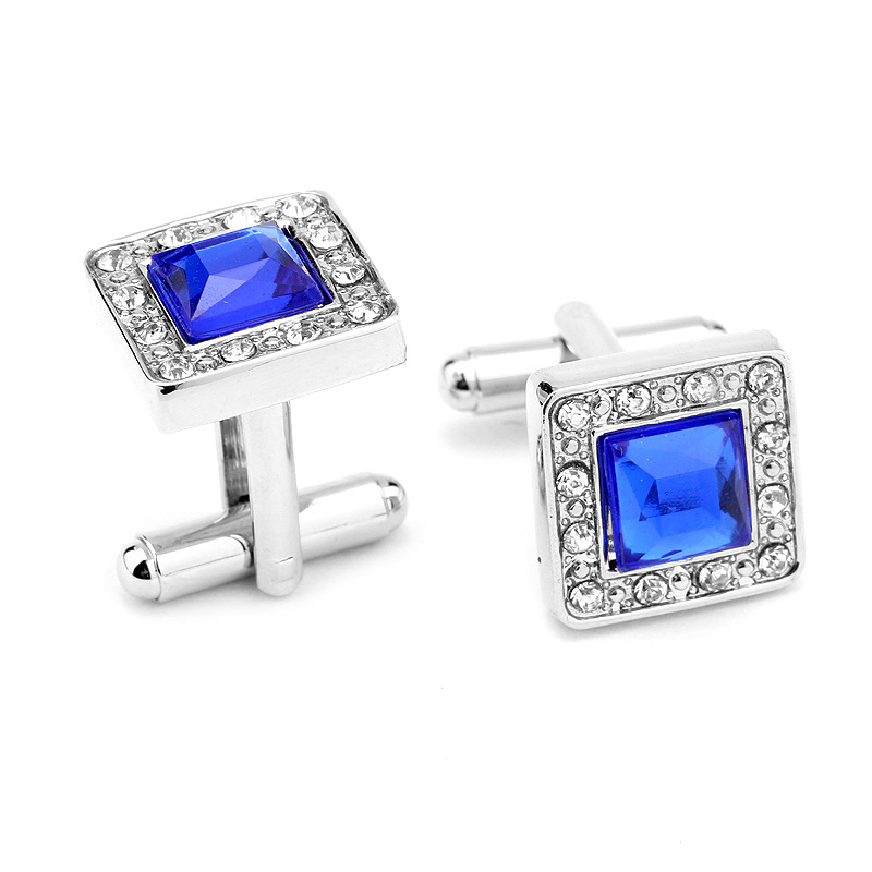 2016 New Fashion Men Cufflinks Trendy Royal Blue Crystal Gemelos Square Shape Men's Cuff Links for Wedding Party Shirt Gemelos(China (Mainland))