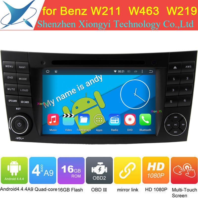 Quad Core Android 4.4.4 Car DVD For Mercedes Benz E Class CLS Class E280 CLS350 W211 W463 W219 E200,E220,E240 auto PC Radio DVR(China (Mainland))