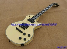 Buy Hot! Electric guitar,Lp custom,solid cream color,ebony fingerboard with fret nibs,black parts, free shipping! for $295.00 in AliExpress store