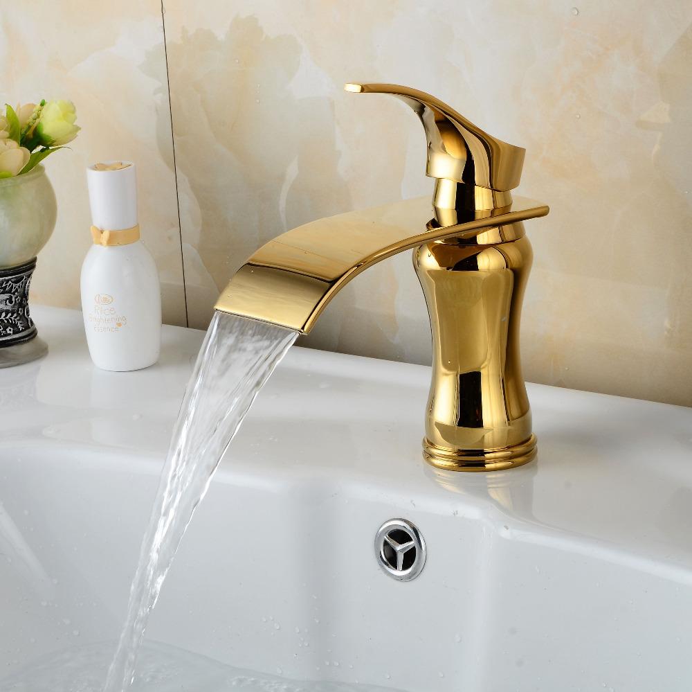 Фотография Gold finish bathroom faucet brass material  basin sink mixer waterfall tap golden torneiras