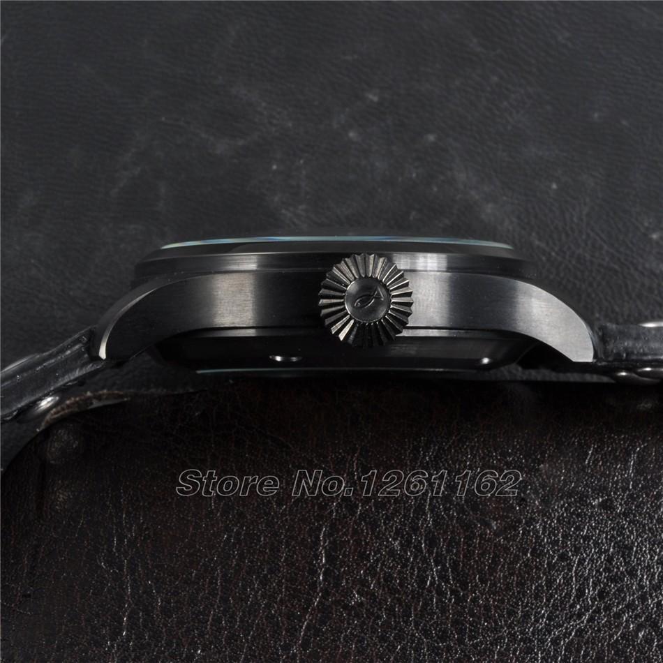 Бесплатная доставка Парнис 47 мм Big Pilot PVD Дело Power Reserve Автоматические мужские Часы
