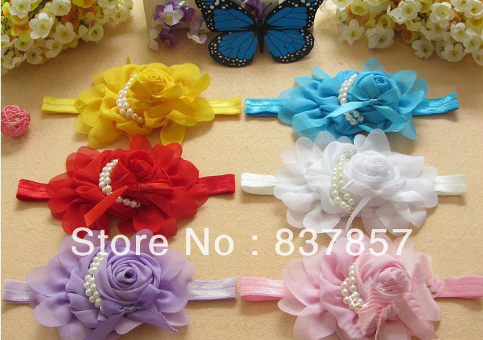 free shipping 15pcs Beautiful Stylish Baby Pearl Beaded Baby headdress Kids Hairband Head Wear Photography Prop Wholesale(China (Mainland))