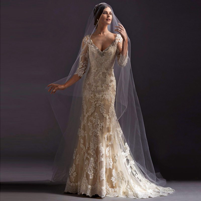 2016 fashion gowns lace wedding dress sleeves three