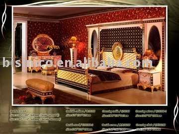 Luxury king size classsical&antique bedroom furniture set,king size bed,night stand, dresser, mirror,side screen,stool,desk(China (Mainland))