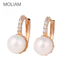 MOLIAM Crystal Hoop Earrings for Women White/Gray Simulated Pearl Delightful Wedding Design Huggie Earring Hot Sale E137/E146(China (Mainland))