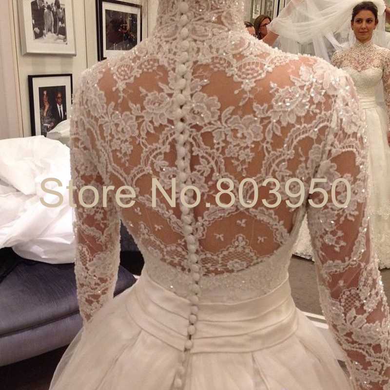 High Neck Long Sleeve Wedding Dresses