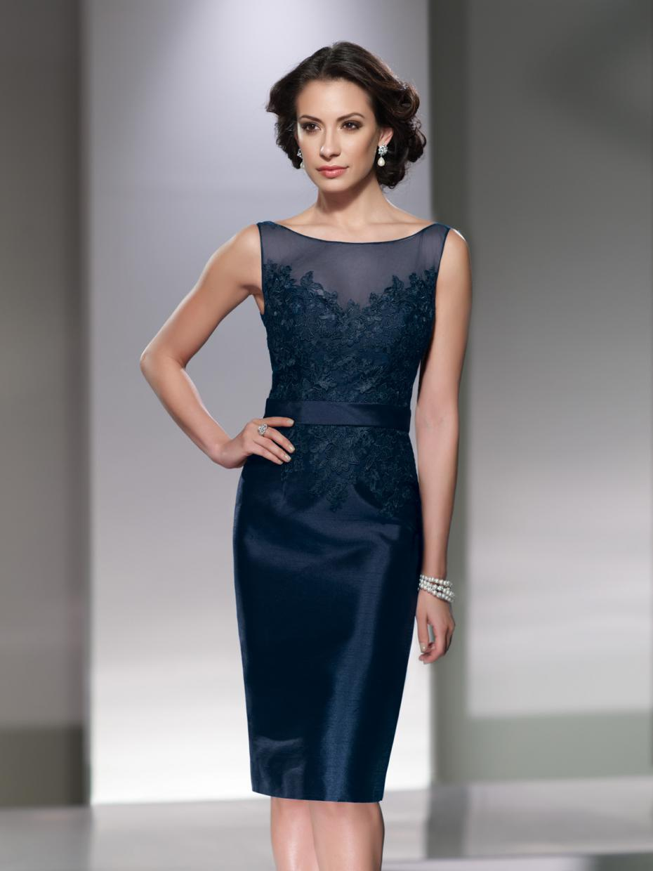 Top Quality Sleeveless Navy Blue Taffeta Mother Of The