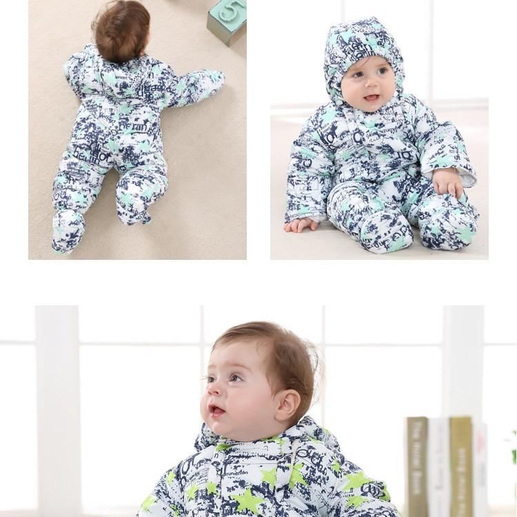 Скидки на Дети Вниз Пальто Новорожденных Ползунки для Мальчиков Костюм Зимние Детские Snowsuit Теплый Baby Rompers Красочные Одежды LTY39