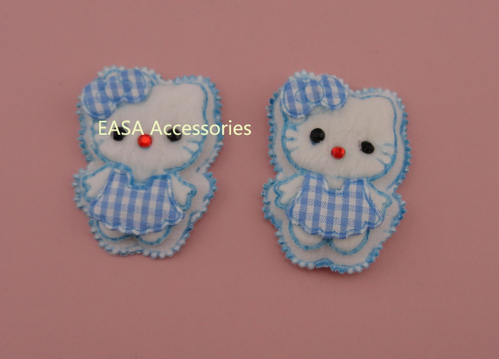 20PCS 4.0cm*5.4cm Blue Checked Fabric Dressed Hello Kitty Patches Applique for kids Garment, hair accessories(China (Mainland))