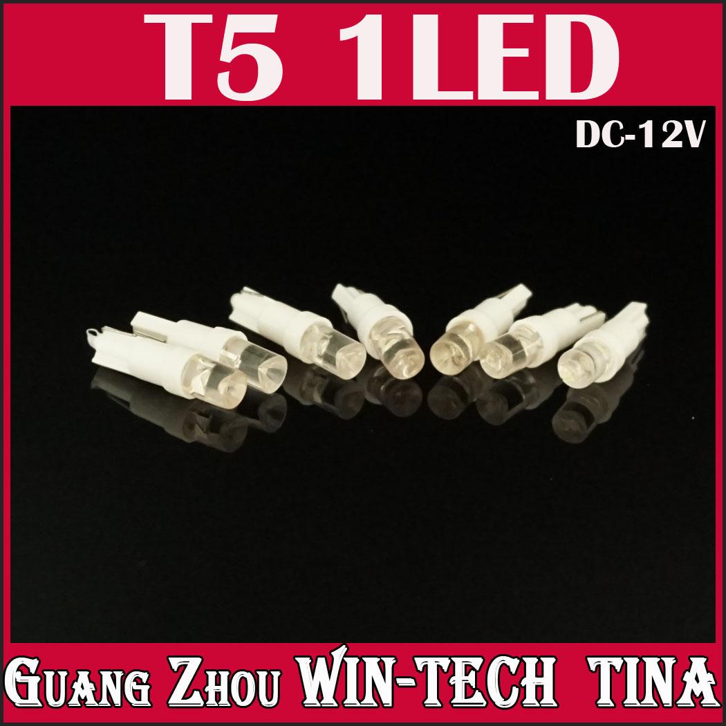 50PCS/LOT T5 Wedge W2 1LED W5W LED Dashboard Car Auto Light Bulbs 100% new brand(China (Mainland))