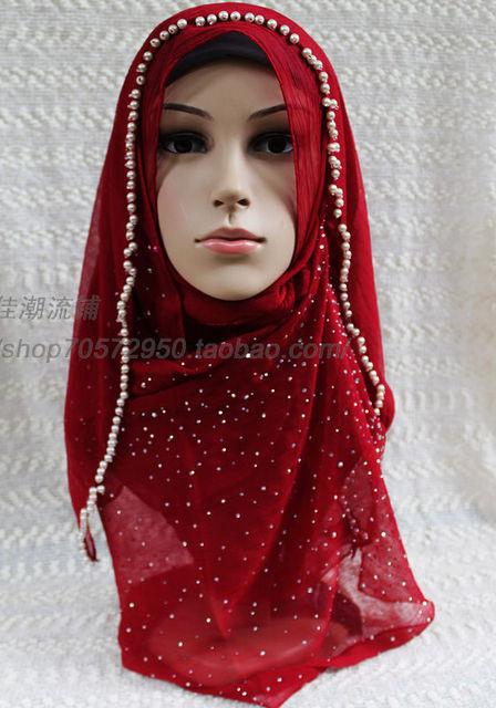 Flip fashion bandanas hijab handmade pearl rhinestones 2012 blue