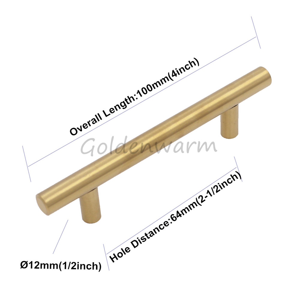 1 Piece Brushed Brass Golden Cabinet Handles Hole Center 2