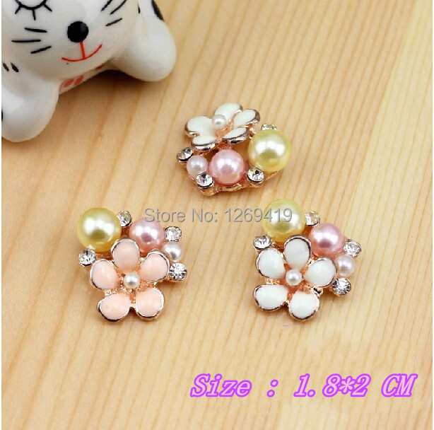 2Color 20PCS Alloy Pearl Diamond Rhinestone Buttons,Rose Gold Flatback Decoration Button,DIY Bow Headband Material Accessories(China (Mainland))