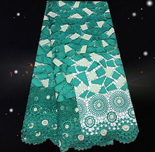 QX50-2! top quality African cord lace fabric in green,lowest price embroidered guipure lace fabric for women dress!