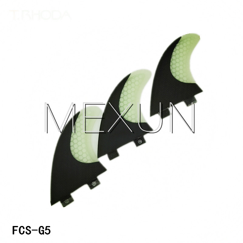 New design clear white with black surfboard fcs fins/fin tri set/performace core surf/half carbon fins(China (Mainland))