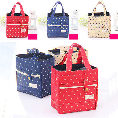 Polka Dot Tinfoil Waterproof Food Insulated Thermal Drawstring Lunch Bags Tote(China (Mainland))