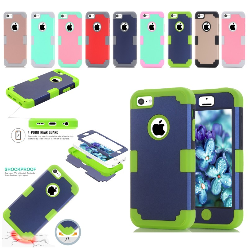 Mobile Phone Bag For Apple iPhone 5C 4.0 inch Hard PC + Silicone Gel Combo Hybrid 3 in 1 Heavy Duty Dual Color Rubber Skin Case(China (Mainland))