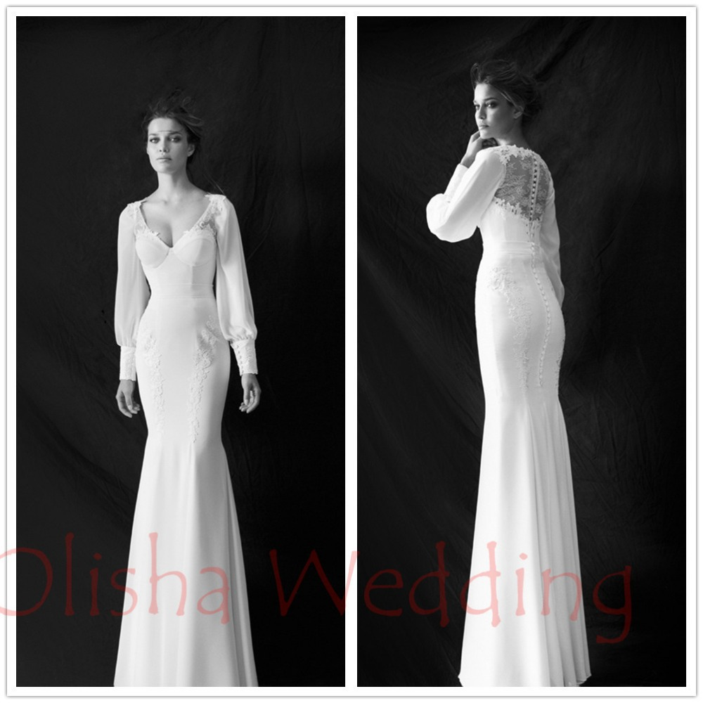 2015 New Fashion Vintage Charmeuse White Mermaid Lace V-Neck Full Sleeve Zipper Long Wedding Bridal Dress Gowns vestido de noiva(China (Mainland))