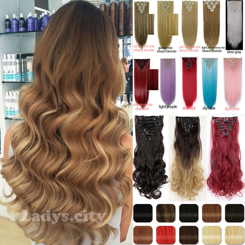Free Shipping Clip in Hair Extensions 17inch 24inch 8pcs/set 170g Fibre Curly Wavy Hair Clip In Synthetic Hair Extension(China (Mainland))