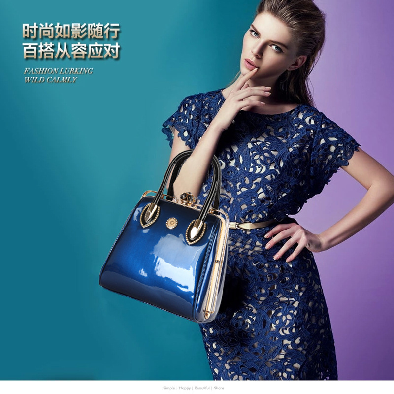 2015 Fashion Patent Leather Handbags Elegant Solid Candy Color Women's Tote Bags Lady's Portable Bag(China (Mainland))