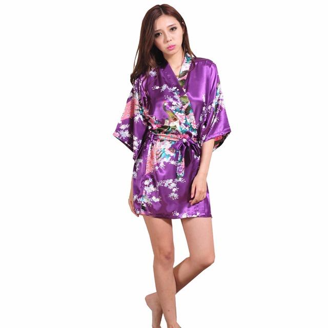 Фиолетовый леди мини кимоно сексуальное платье халат невесты свадьба халаты невесты ...