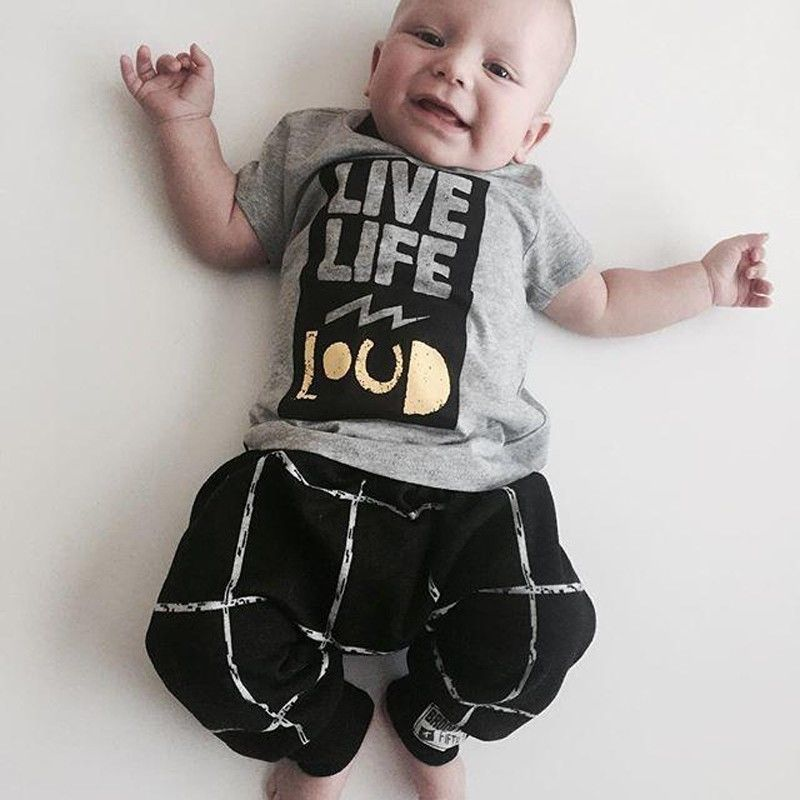 2016 Fashion baby clothing baby boy clothes Short T Shirt Long Pants 2pcs bebe baby boy newborn clothing set